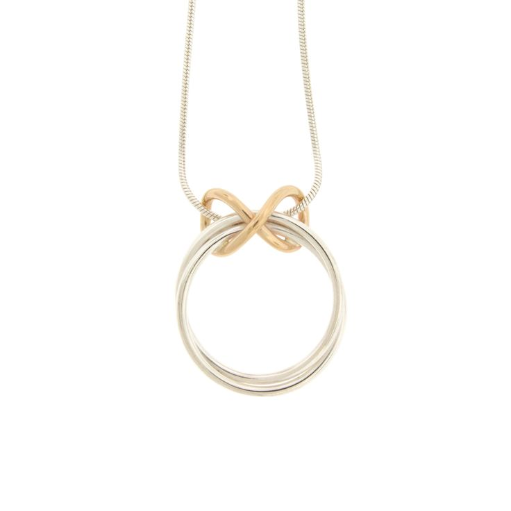 Infinity Necklace- Sterling silver & 14KY