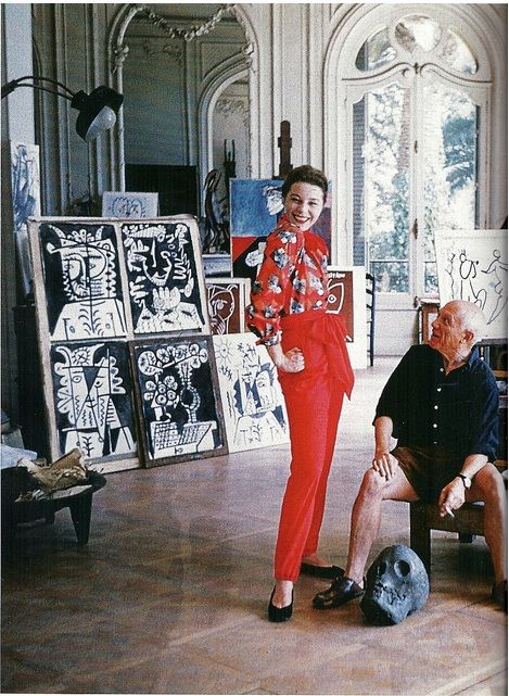 French model Bettina Graziani and Picasso in his Cannes studio, 1955