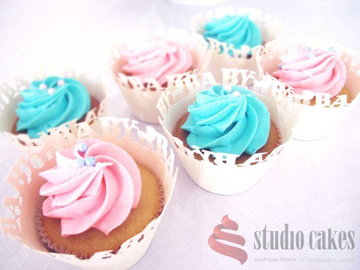 Gender reveal cupcakes. Blue, pink buttercream with cachous. Studio Cakes www.studiocakes.com.au