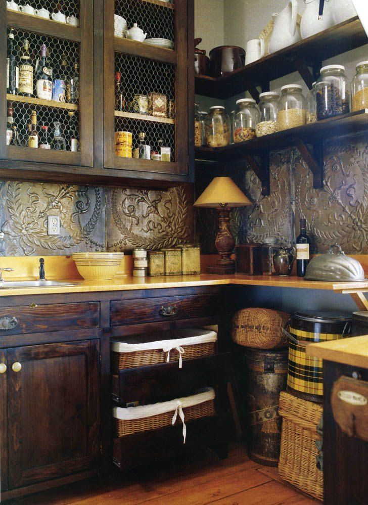Pantry with tin ceiling tiles photo: I really like this. Way too casual for my house. Maybe that mountain cabin someday. This photo was uploaded by logansmumga