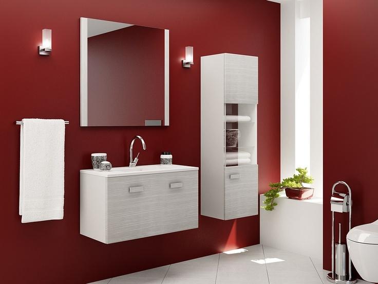 Light grey bathroom furniture with matching handles / łazienka #bathroom #furniture #washbasin #minimalist #contemporary #grey