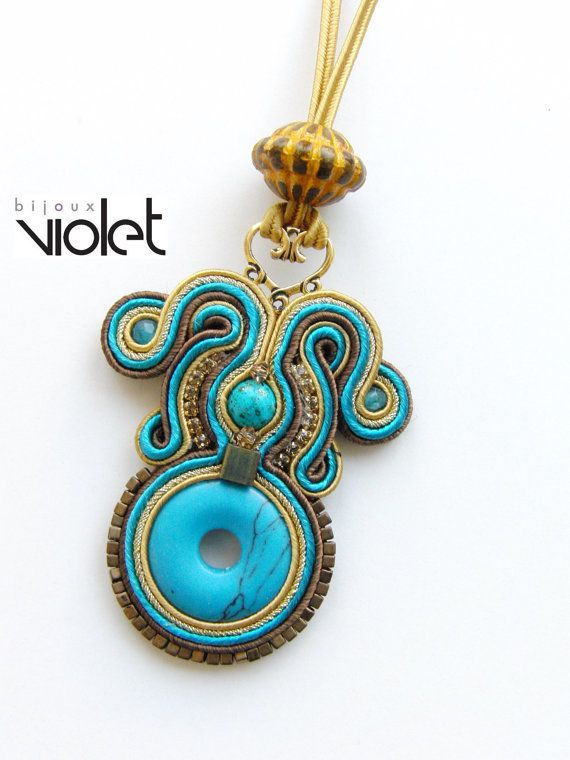 Soutache Pendant Brown/Turquoise by Violetbijoux on Etsy, $49.00
