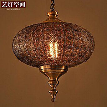 Quietness @ Nordic Antique Chandeliers American Indian Oriental Southeast Asian Cities Even Metal Lamps Lanterns 360MM450MM Pendant Lamp for Kids Bedroom Dinning Room Living Room Warehouse