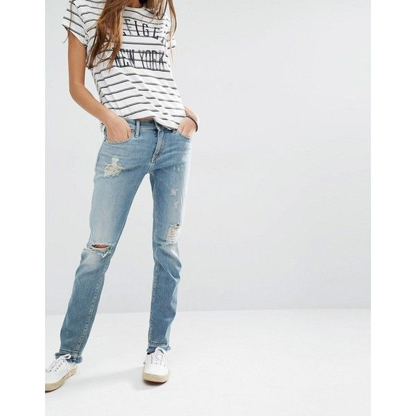 Hilfiger Denim Naomi Destroyed Straight Jeans With Raw Hem (122 CAD) ❤ liked on Polyvore featuring jeans, blue, distressed straight-leg jeans, boot cut jeans, blue jeans, tall skinny jeans and blue ripped jeans