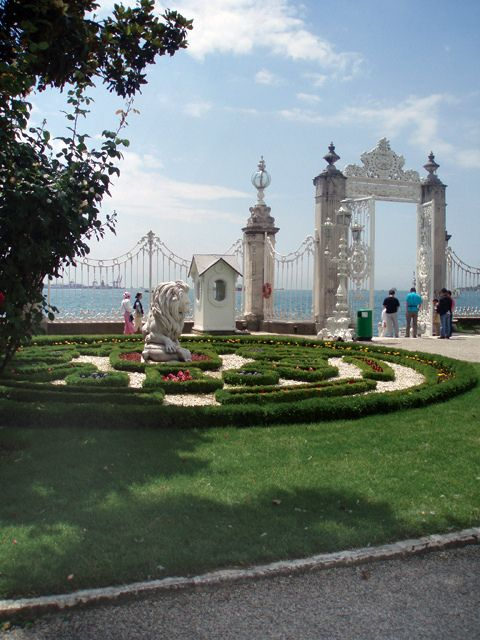 Dolmabahce Palace and Garden, Istanbul - Turkey. The Gardens look right out over the Strait. It's so beautiful.