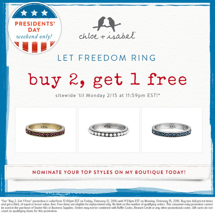 This Presidents' Day Weekend, Let Freedom Ring! Stack up with our Buy 2, Get 1 Free sale! Https://www.chloeandisabel.com/boutique/beautybymaggy