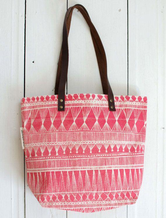 silk screened tote bag  Red Market Weave by SlideSideways on Etsy, $64.00