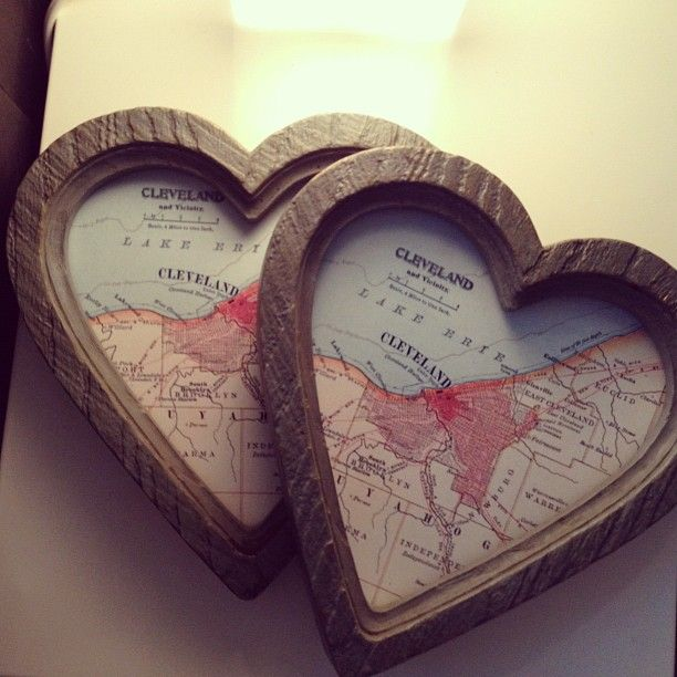 DIY: Heart-shaped frames filled with maps of places you love.