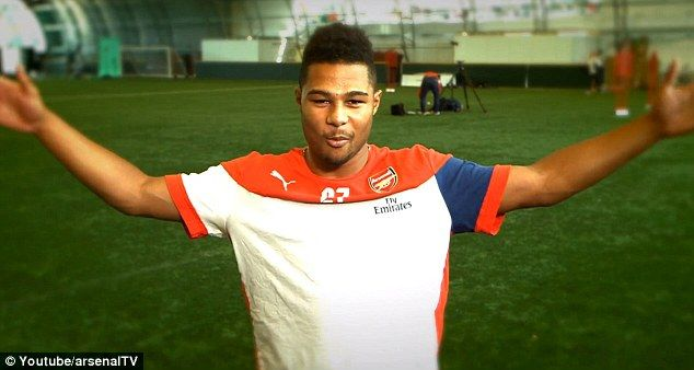 Game for a laugh: Arsenal do admite that they 'don't do accents' as Serge Gnabry gives it ...