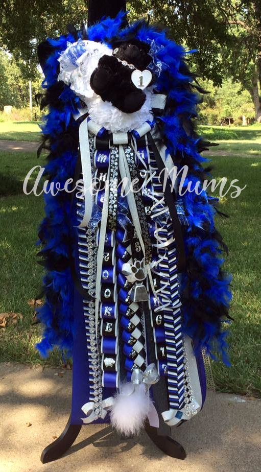Awesome Mums-Triple Deluxe Mum in royal blue and black for