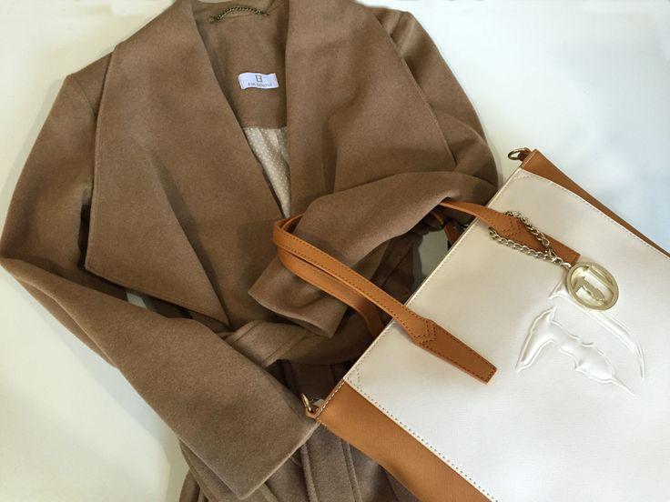 #camel coat eva benova# Trussardi bag