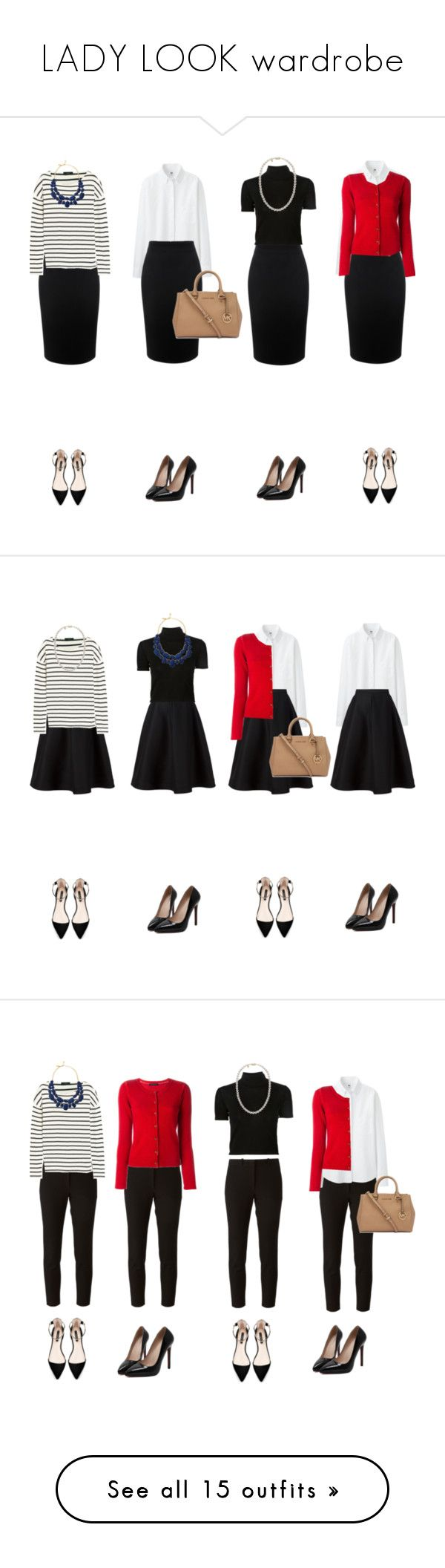 LADY LOOK wardrobe by unmmm on Polyvore featuring polyvore, fashion, style, Alexander McQueen, Uniqlo, J.Crew, Rosetta Getty, Samantha Sung, Zara, Kate Spade, Mikimoto, Michael Kors, clothing, Vika Gazinskaya, Joseph, women's fashion, tops, sweaters, shirts, t-shirts, crop tops, black, cropped shirts, cotton turtleneck, shirt sweater, cotton turtleneck shirts, cotton sweaters, long sleeves, blue, blue long sleeve shirt, striped long sleeve top, striped long sleeve shirt, long sleeve tops…