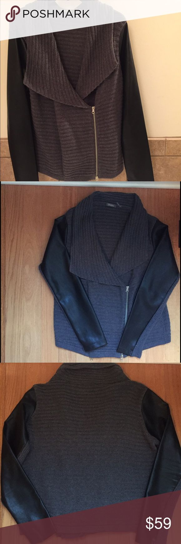 Neiman Marcus Gray and Black Moto Sweater Only worn once Neiman Marcus Gray Moto Sweater with faux leather black sleeves. Hidden inside zipper and front zip. Material: 35% Viscose, 35% Cotton, 15% Nylon, 10% Angola and 5% Wool. Neiman Marcus Sweaters