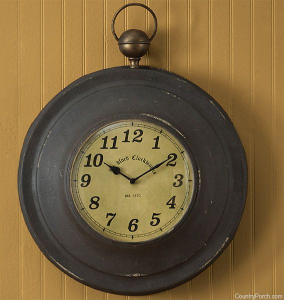 Large Pocket Watch Wall Clock Country Primitive Decor