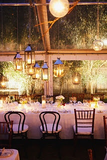 Love the option of hanging lanterns above the tables!