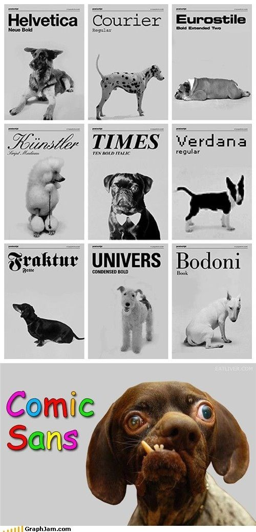 dog-font-comic-sans   http://weknowawesome.com/2011/06/12/comic-sans-is-to-fonts-as-sloth-is-to-goonies/#