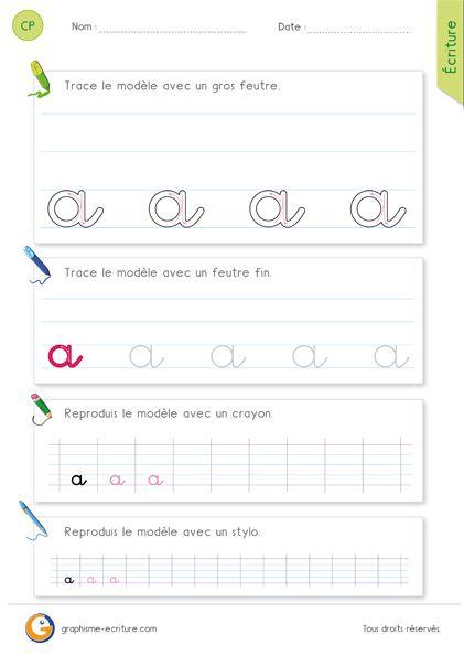 Fiche PDF pour apprendre à écrire la lettre a minuscule en cursive CP - CE1. Comment écrire la lettre a en cursive avec le rond et la boucle étrécie.