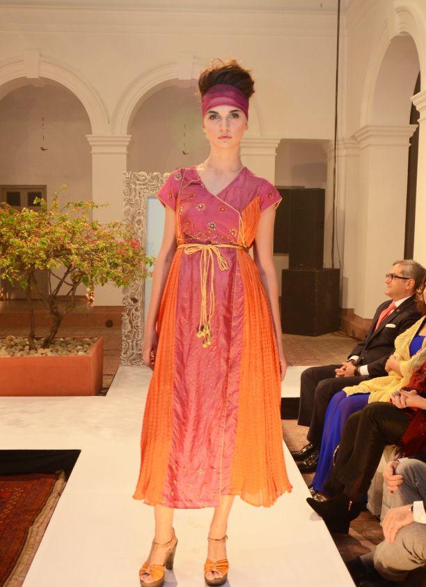 Sunset pink tussar and beige crinkled silk short kurta dress (INR12,900)