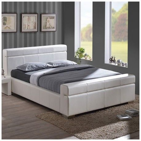 the durham 4ft6 white faux leather bed is a stunning double bed frame which has been