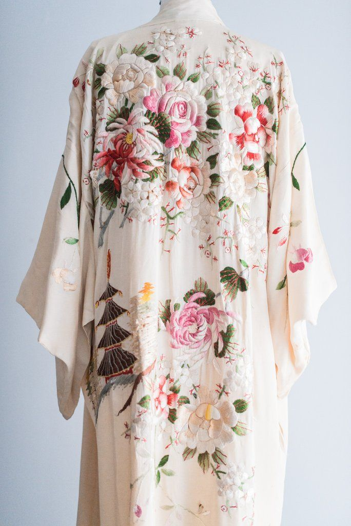 Antique Ivory Kimono with Colorful Embroidery - One Size   G O S S A M E R