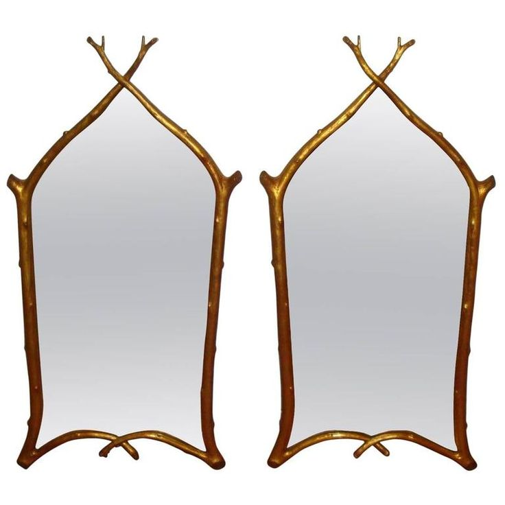 Pair of Carvers Guild Twig Mirrors | From a unique collection of antique and modern wall mirrors at https://www.1stdibs.com/furniture/mirrors/wall-mirrors/