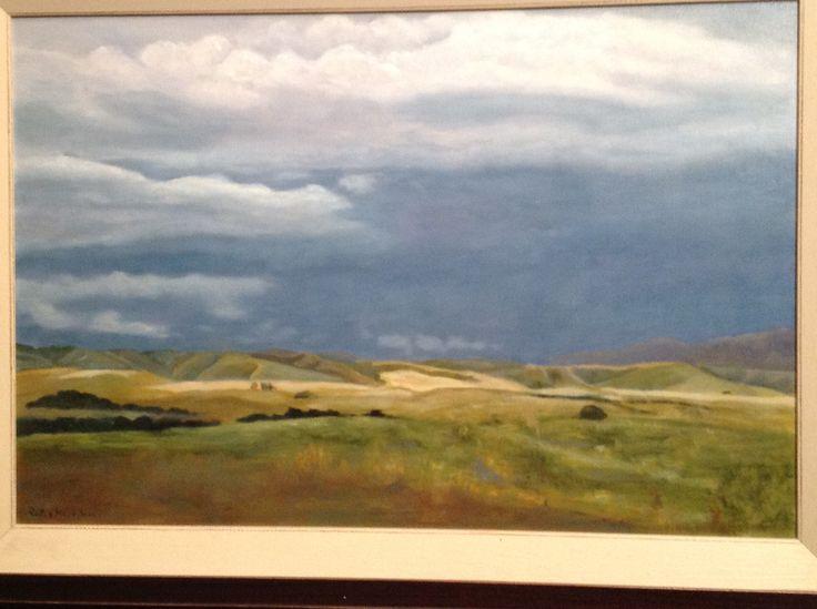 Storm over the Overberg Western Cape . Oil on canvas.  Riet van Heerden