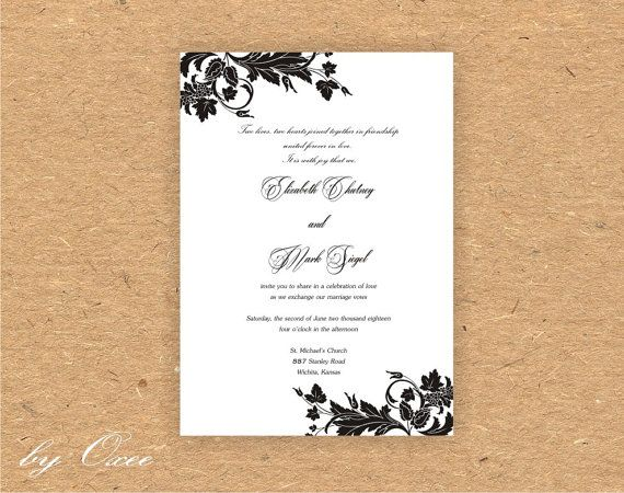 Printable Wedding invitation template Black floral pattern by Oxee