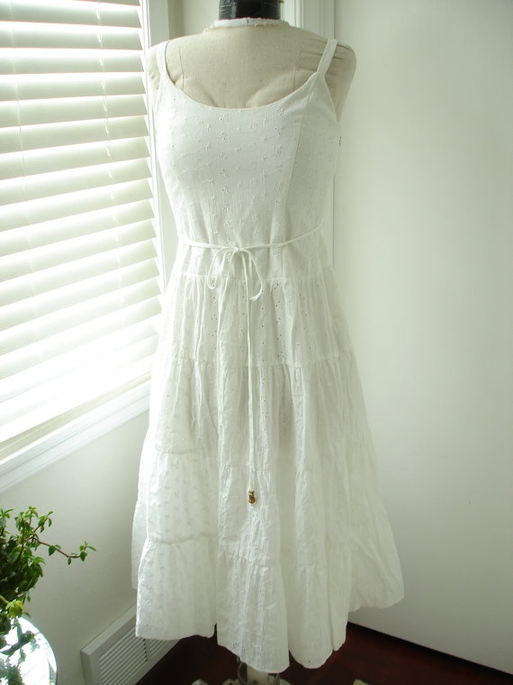White Cotton Eyelet Beach Wedding Sundress by TheTealDoor on Etsy