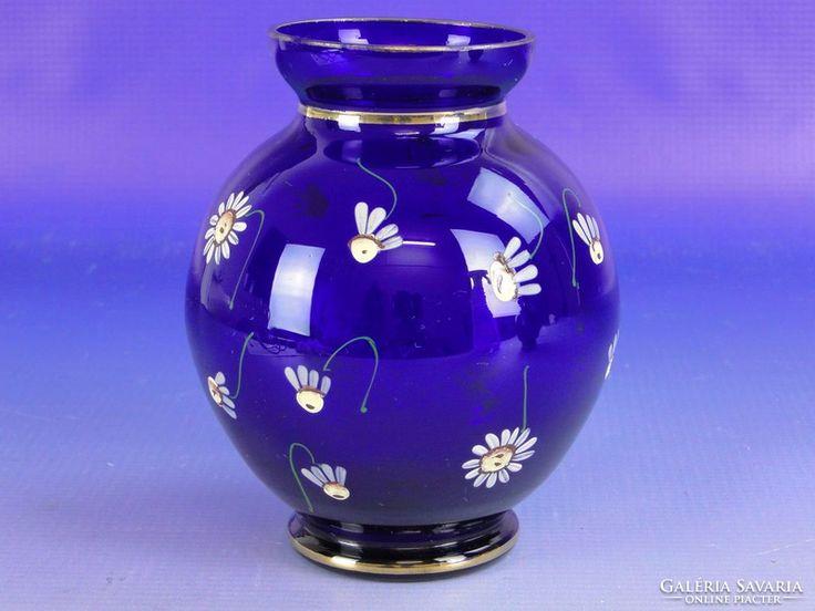 0F548 Virágdíszes kék színű parádi üveg váza