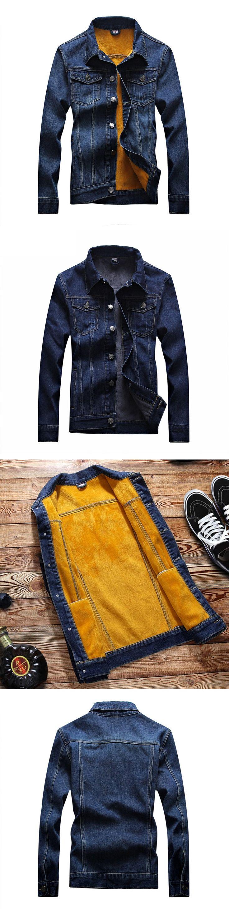 Kedera 2017 Fashion Winter Mens Denim Jackets Coat With Fleece Blue 4XL Warm Washed Fashion Thicken Outwear