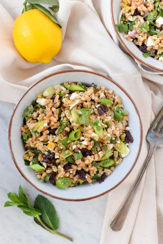 An easy and nutritious grain salad with farro, fresh herbs, dried cherries and feta in a tangy lemon vinaigrette. Vegetarian and sooo satisfying!