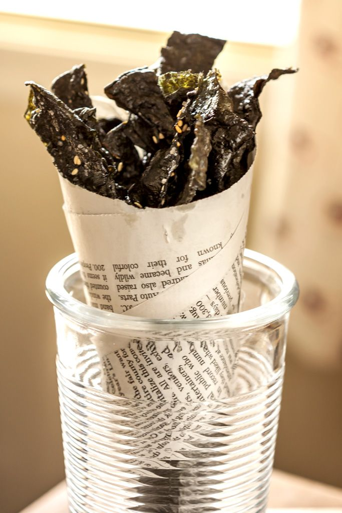 Spicy Sesame Nori (Seaweed) Chips. Here's a terrific snack that will satisfy your inner caveman – and it's actually good for you. With only about 9 calories per flavorful bite, these crisp & spicy nori chips can tackle your snack attack without inflating your waistline.