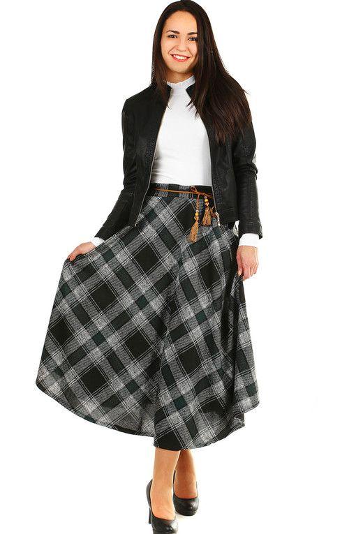 04ace83e9e68 Kostkovaná dlouhá zimní sukně