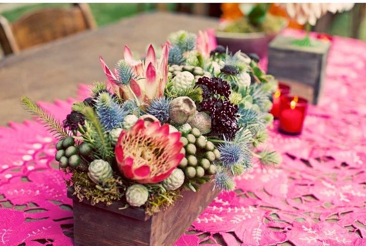 Great Textured Florals In A Wooden Crate Wedding