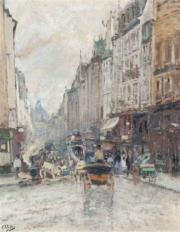 Rue de Seine, towards the Grand Palais, Paris by Eugène Louis Gillot