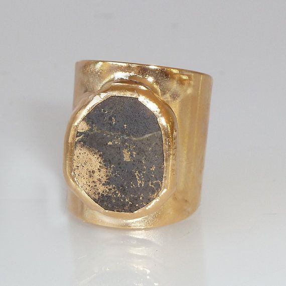 Pyrite Ring, Gemstones Ring, Cocktail Ring, 24K Gold Adjustable Wide Band Ring  Gold fashion ring, Statement Pyrite Ring.
