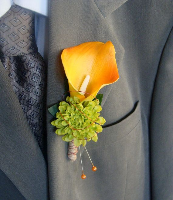 Real Touch Calla Lily Wedding Boutonniere Groom, Groomsmen - Real Touch Orange Calla Lily with Green Button Mum, Wire Accents