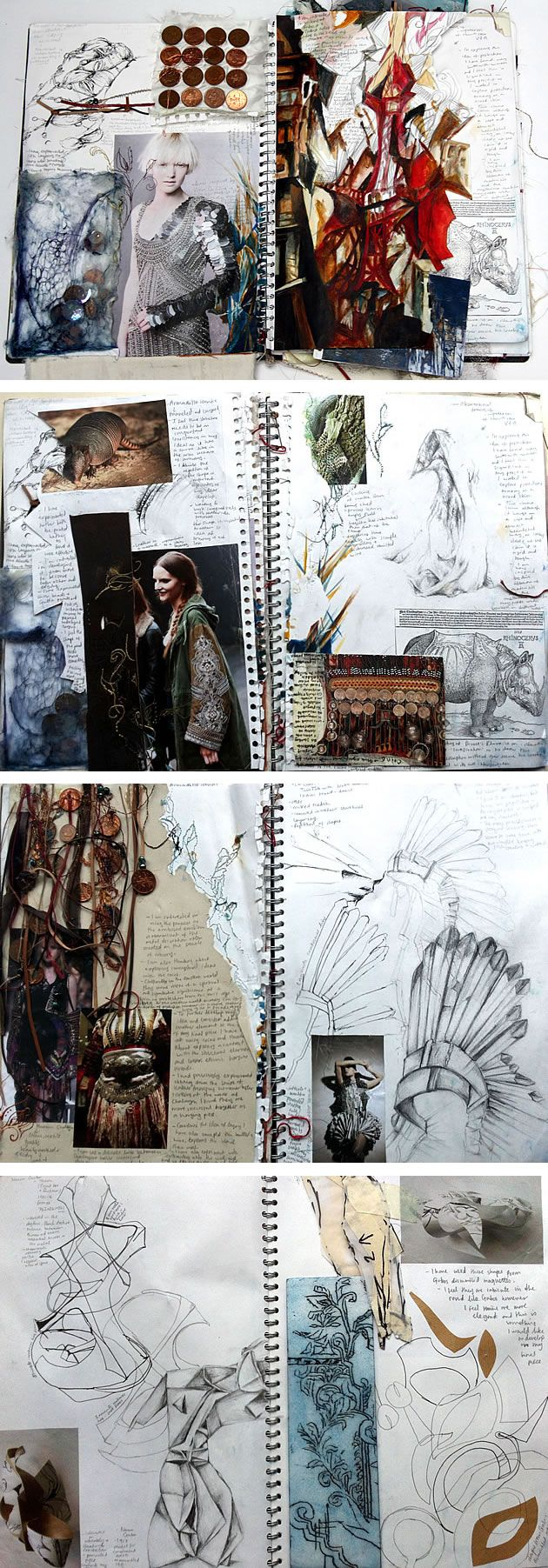 A Levels textiles armour project - follow the link to look at how the student develops ideas and presents their work