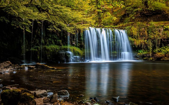 Download wallpapers waterfall, lake, autumn, forest, yellow trees, autumn landscape