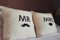 Mr Moustache & Mrs Lips Throw Pillow Cushion Cover