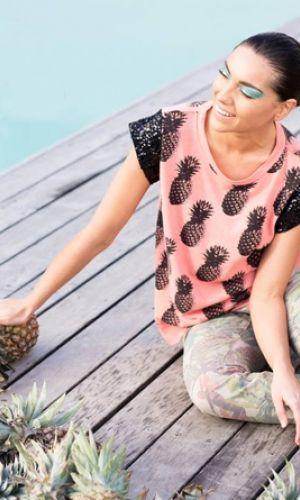 Maud Dainty Pineapple Tee with Sequin Sleeve | M.A.Dainty | Impulse Boutique www.impulseboutique.com.au