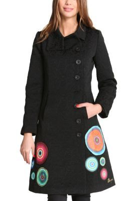 Desigual women's Elisabeth coat. A long coat with classic Desigual Galactic motifs that brighten up the bottom. It has a high collar to keep out the cold this winter!