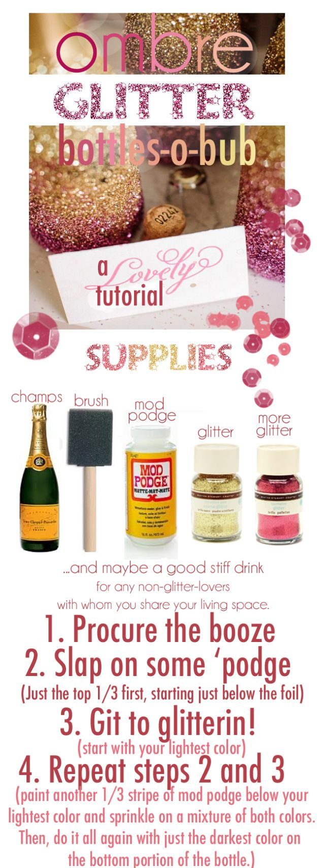 Tutorial:  Ombre glitter champagne bottles, great for a party or as a gift. (Champagne Bottle Centerpieces)