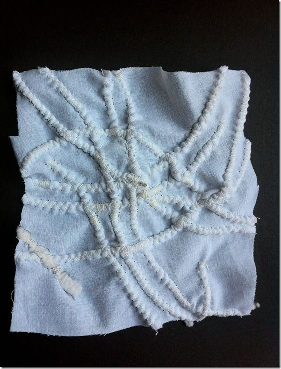 CORDED QUILTING SAMPLES--Encasing of chenille yarn with zigzag stitch from blog of daniela maschera