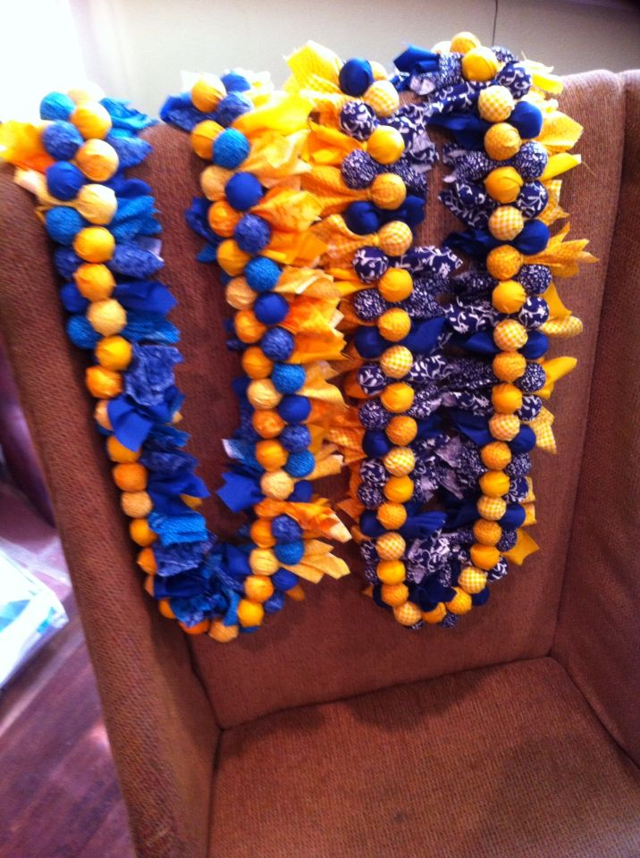 Gumball lei's for girls volleyball senior night at Marina High school. School colors yellow and blue!
