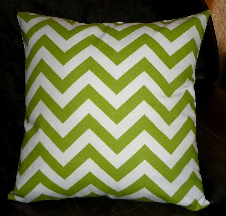 Green & white chevron cushion cover