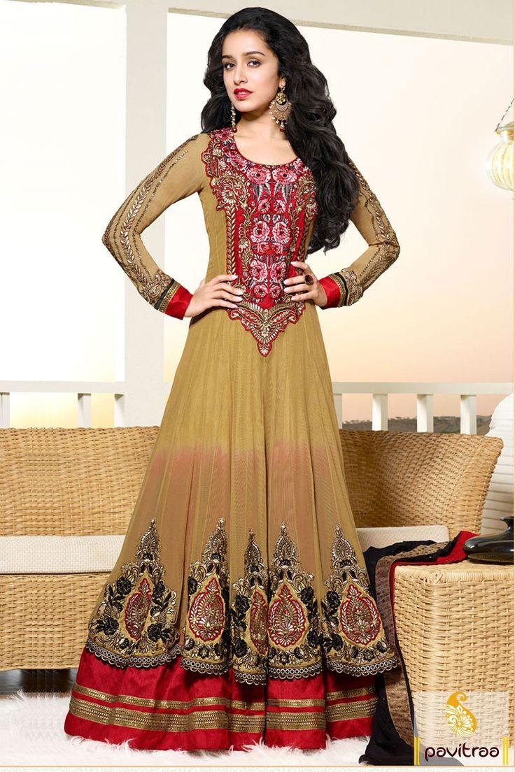 Pavitraa Shraddha Kapoor Cream and Red Long Anarkali Drees
