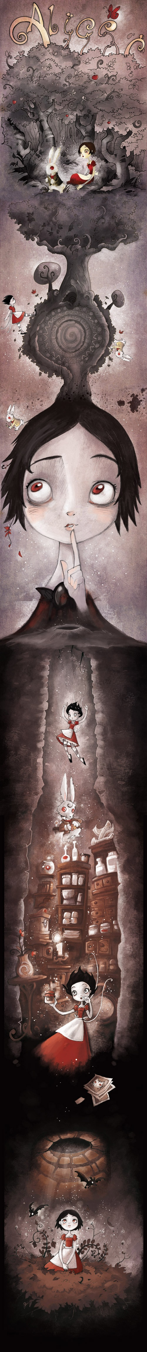 Amazing whimsical art! <3 Alice Underground by The Lab - Down the rabbit hole, wonderland art