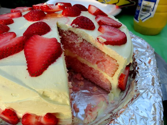 Strawberry Lemonade Layer Cake | Veronica's Cornucopia. This starts with a boxed cake mix! Sounds sooo delicious!!