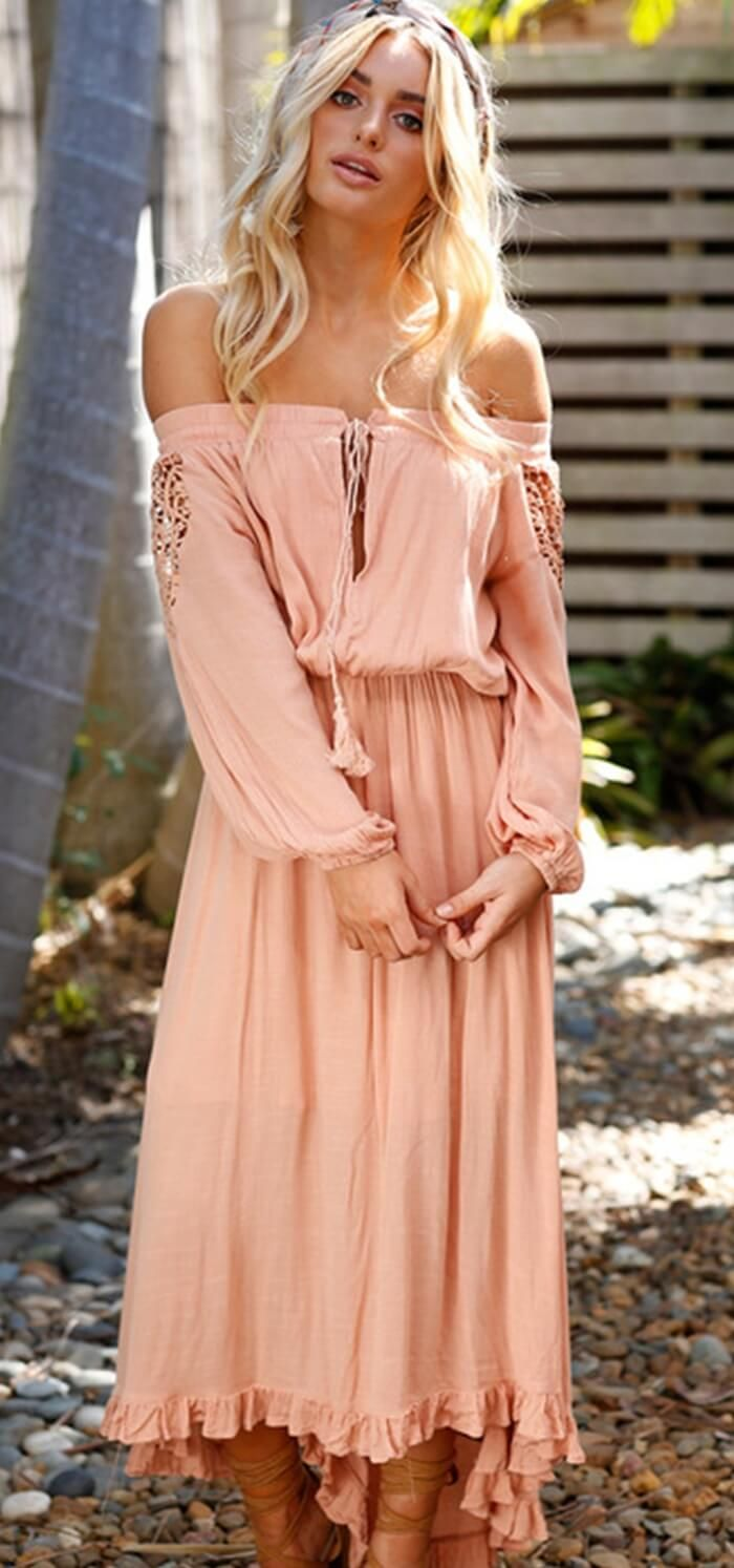 6831b2576e Like A Fairy Off Shoulder Boho Maxi Dress. Summer Bohemian dress. Women  fashion.